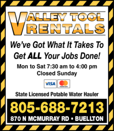 Yellow Pages Ad of Valley Tool Rentals