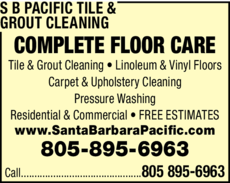 Yellow Pages Ad of S B Pacific Tile & Grout Cleaning