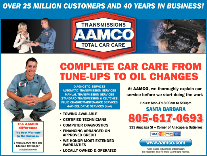 Yellow Pages Ad of Aamco Transmissions & Total Car Care
