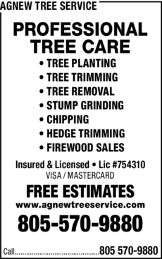 Yellow Pages Ad of Agnew Tree Service