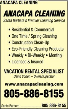 Yellow Pages Ad of Anacapa Cleaning