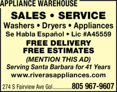 Yellow Pages Ad of Appliance Warehouse
