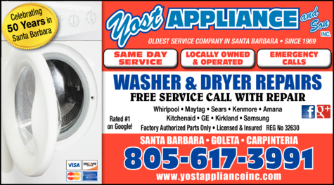 Yellow Pages Ad of Yost Appliance Repair In Santa Barbara