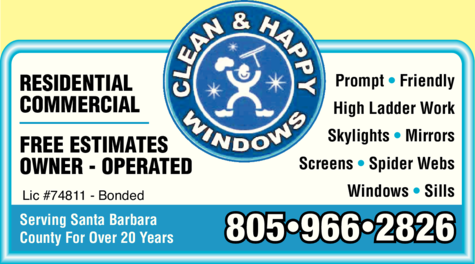 Yellow Pages Ad of Clean & Happy Windows