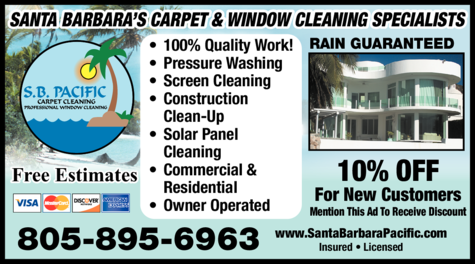 Yellow Pages Ad of S B Pacific Window Cleaning