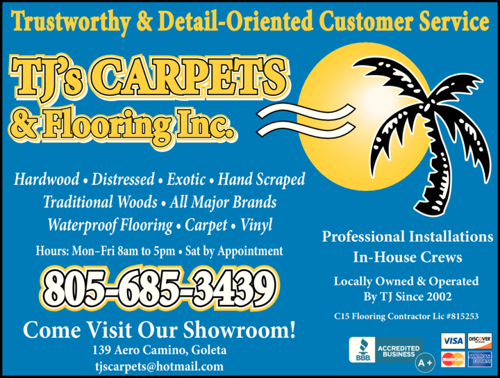 Yellow Pages Ad of Tj's Carpets & Flooring Inc