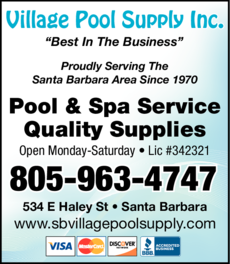 Yellow Pages Ad of Village Pool Supply Inc