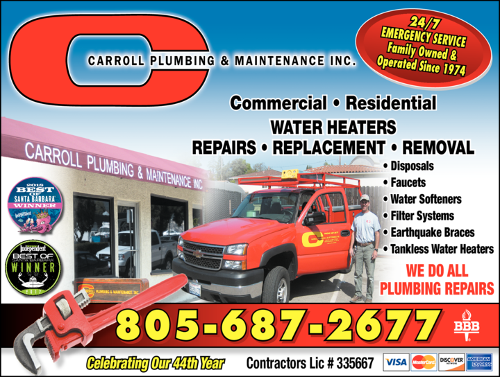 Yellow Pages Ad of Carroll Plumbing & Maintenance Inc