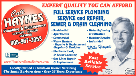 Yellow Pages Ad of Haynes Plumbing & Maintenance