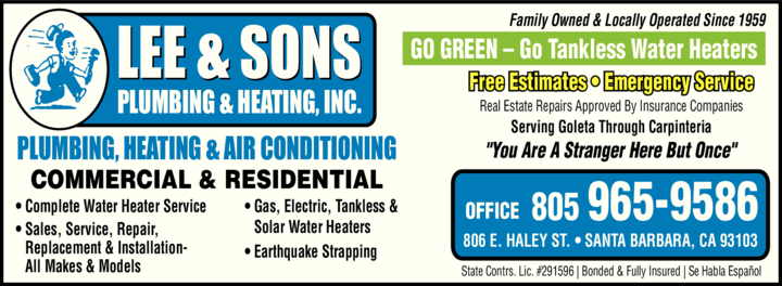 Yellow Pages Ad of Lee & Sons Plumbing & Heating Inc