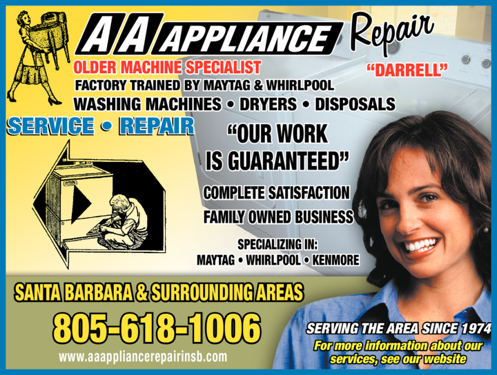 Yellow Pages Ad of Aa Appliance Repair