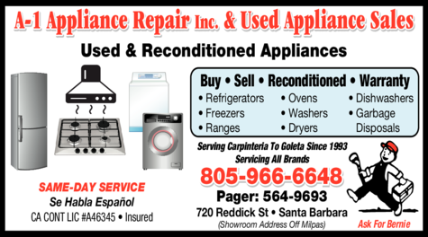 Yellow Pages Ad of A-1 Appliance Repair Inc