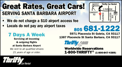 Yellow Pages Ad of Thrifty Car Rental