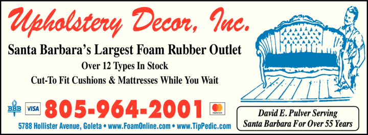 Yellow Pages Ad of Upholstery Decor Inc