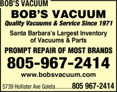 Yellow Pages Ad of Bob's Vacuum