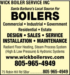 Yellow Pages Ad of Wick Boiler Service Inc