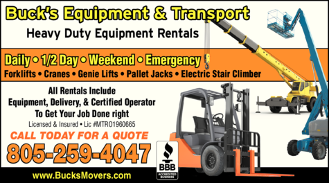 Yellow Pages Ad of Buck's Crane Forklift & Equipment Services