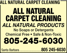 Yellow Pages Ad of All Natural Carpet Cleaning