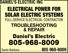 Yellow Pages Ad of Daniel's Electric Inc