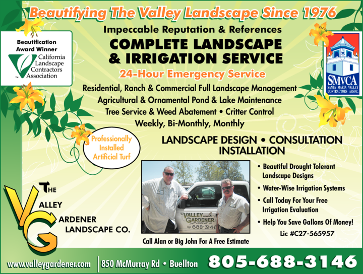 Yellow Pages Ad of Valley Gardener