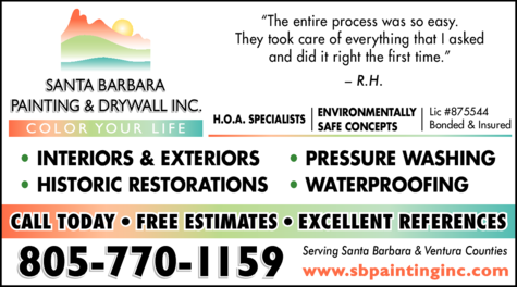 Yellow Pages Ad of Santa Barbara Painting Inc