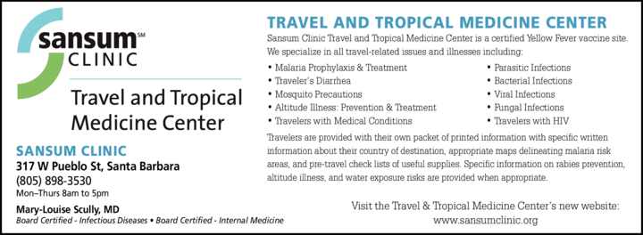 Yellow Pages Ad of Sansum Clinic - Travel & Tropical Medicine Center