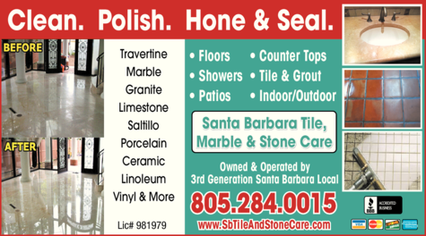 Yellow Pages Ad of Santa Barbara Tile Marble & Stone Care