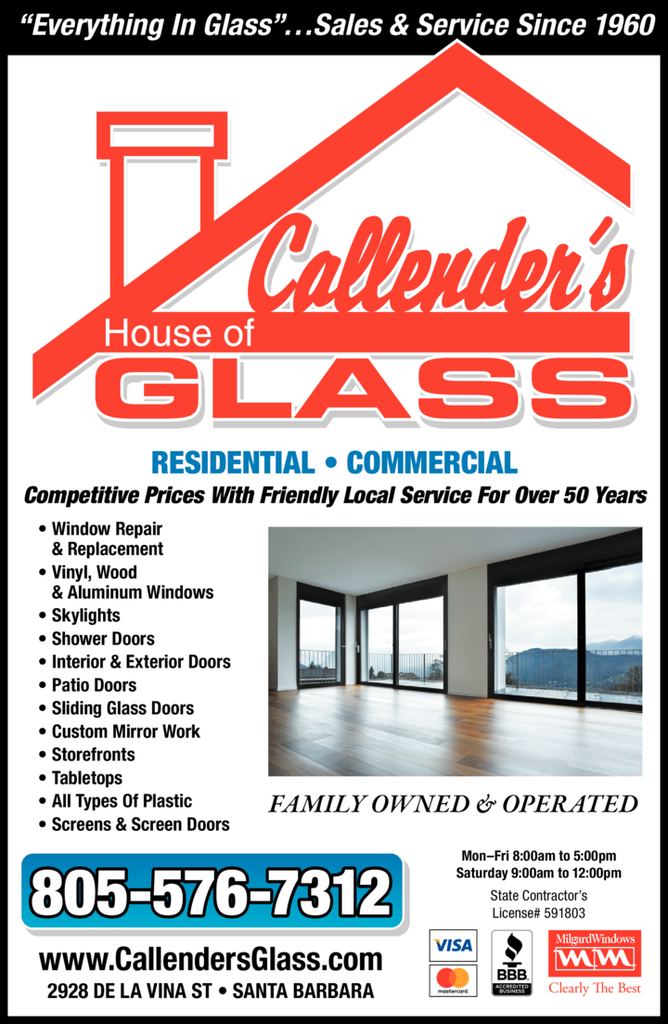 Yellow Pages Ad of Callender's House Of Glass