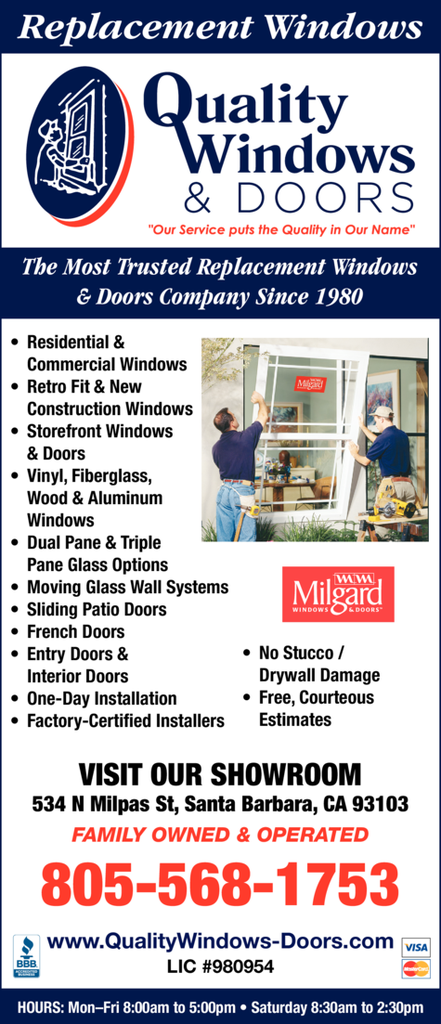 Yellow Pages Ad of Quality Windows Inc