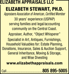 Yellow Pages Ad of Elizabeth Appraisals Llc