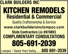 Yellow Pages Ad of Clark Builders Inc