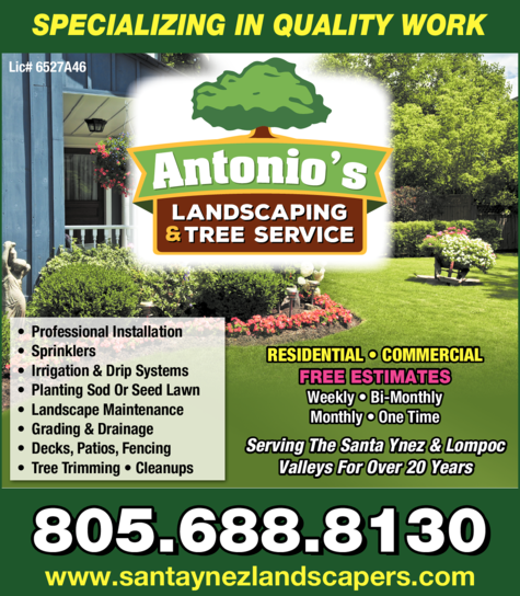 Yellow Pages Ad of Antonio's Landscaping & Tree Service