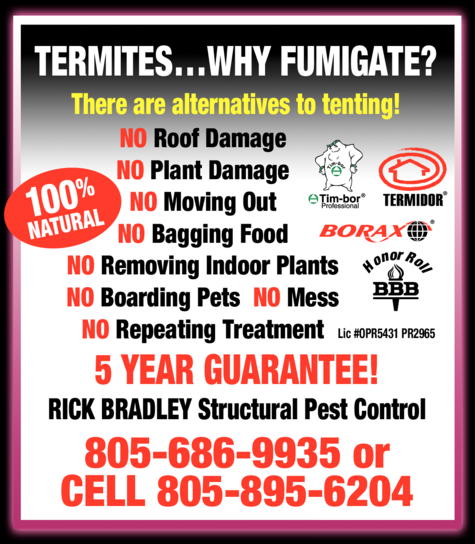 Yellow Pages Ad of Rick Bradley Structural Pest Control