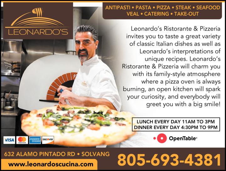 Yellow Pages Ad of Leonardo's Cucina Italiana