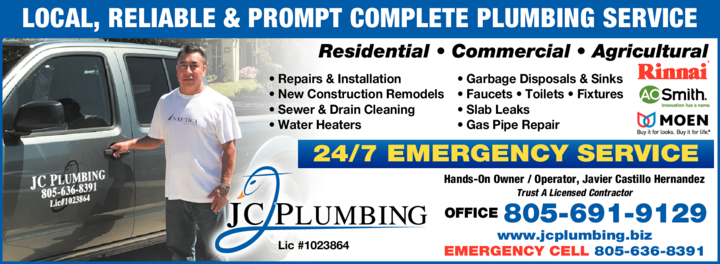 Yellow Pages Ad of Jc Plumbing