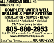 Yellow Pages Ad of All American Drilling Company Inc