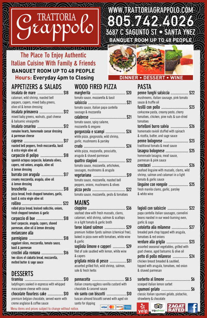 Yellow Pages Ad of Trattoria Grappolo