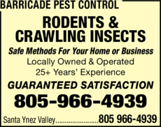 Yellow Pages Ad of Barricade Pest Control