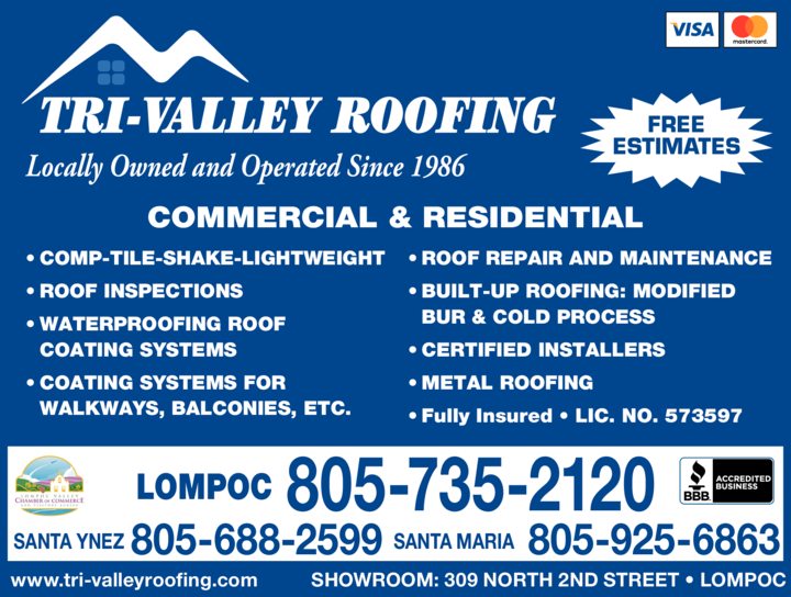Yellow Pages Ad of Tri-Valley Roofing Inc