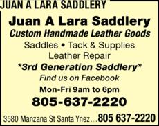 Yellow Pages Ad of Juan A Lara Saddlery