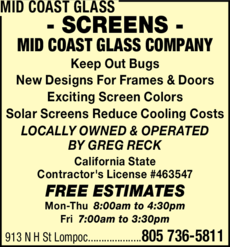 Yellow Pages Ad of Mid Coast Glass