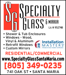 Yellow Pages Ad of Specialty Glass & Mirror