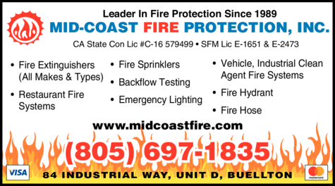 Yellow Pages Ad of Mid-Coast Fire Protection