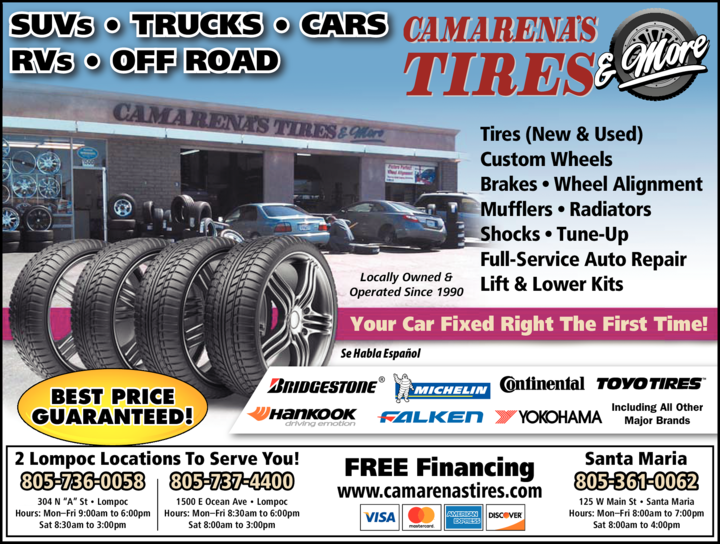 Yellow Pages Ad of Camarena's Tires & More