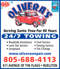 Yellow Pages Ad of Olivera's Repair Towing & Express Lube