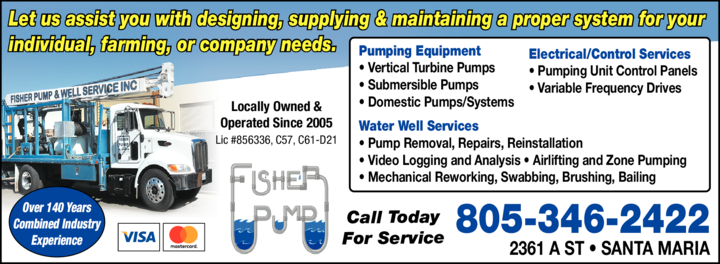Yellow Pages Ad of Fisher Pump & Well Service
