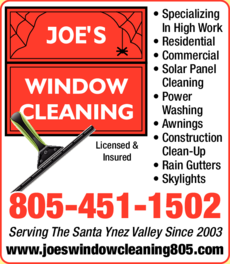 Yellow Pages Ad of Joe's Window Cleaning