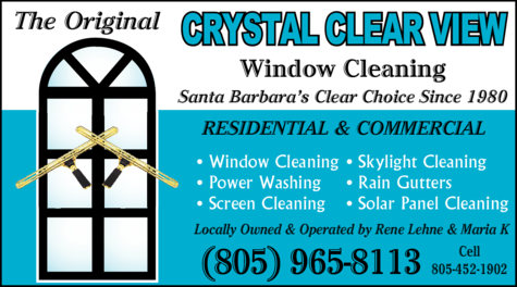 Yellow Pages Ad of Crystal Clear View Window Cleaning