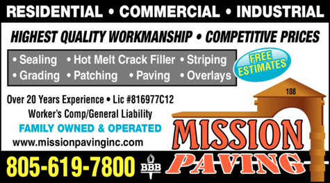 Yellow Pages Ad of Mission Paving Inc