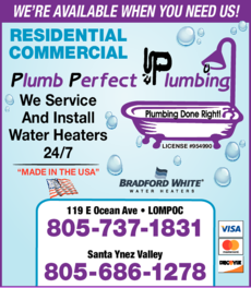 Yellow Pages Ad of Plumb Perfect Plumbing